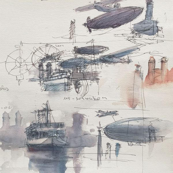 Preparatory drawing with airships, planes and ferries