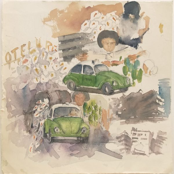 Preparatory watercolour with Mexican themes and DF beetle taxis.